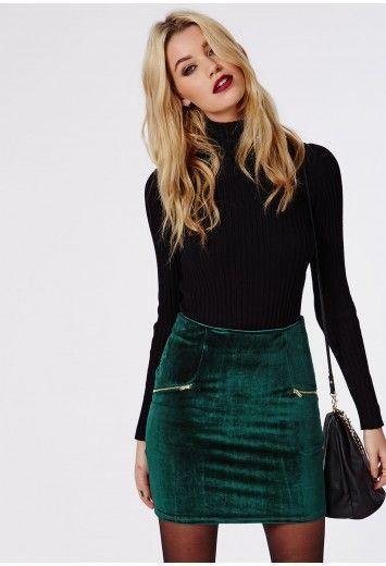 Velvet Zip Detail Mini Skirt Dark Green - Skirts - Missguided