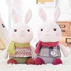 Me Too Tiramitu Stuffed Bunny Dolls Wear Scarf Plush Rabbit Valentines Gifts Toys 2 PCS 10.5'' (Green+Red)