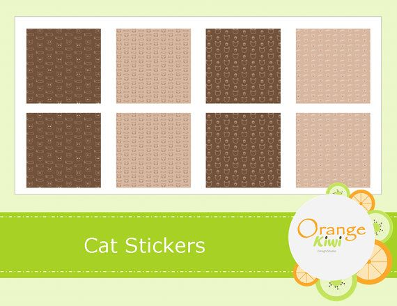 Cat Washi Style Stickers  Cat Planner Stickers by OrangeKiwiDesign