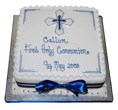 Communion Cakes For Boys | Blue Communion Cake | Confirmation Cakes | Cakes for Baby Boys ...