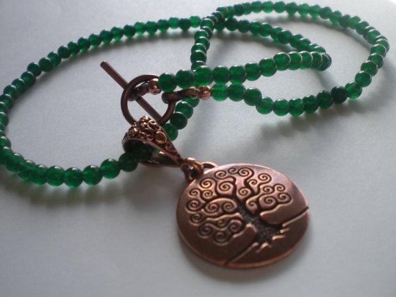 Green Aventurine Necklace with Copper Tree of by PhreshThreadz