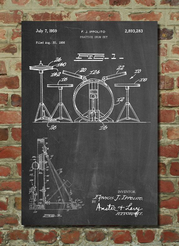 Frank Ippolito Practice Drum Set Patent Poster by PatentPrints