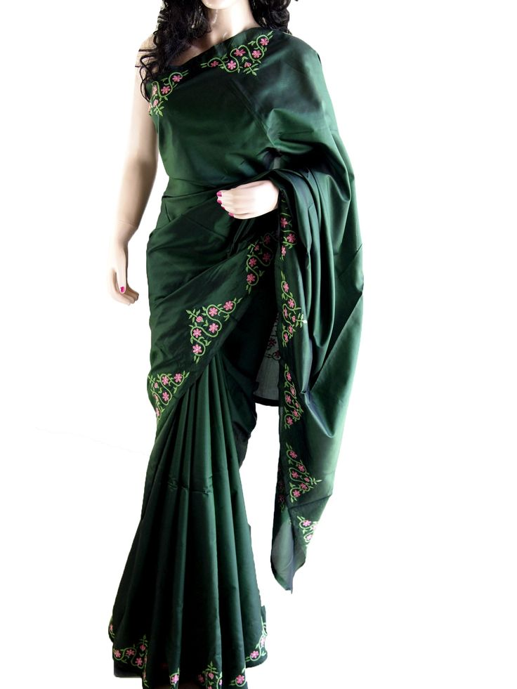 Green Pure Silk Saree With Hand Embroidery
