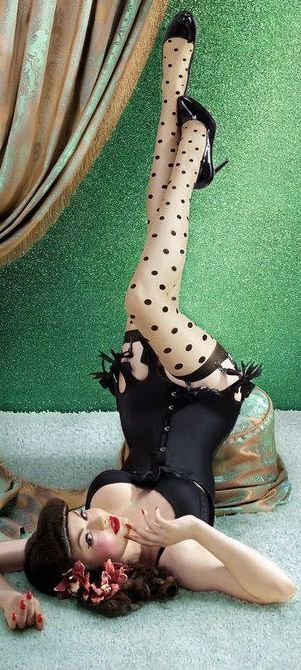 Lingerie:  Black #Garter #Skirt, and Polka-Dot Thigh-High #Stockings. #rockabilly: