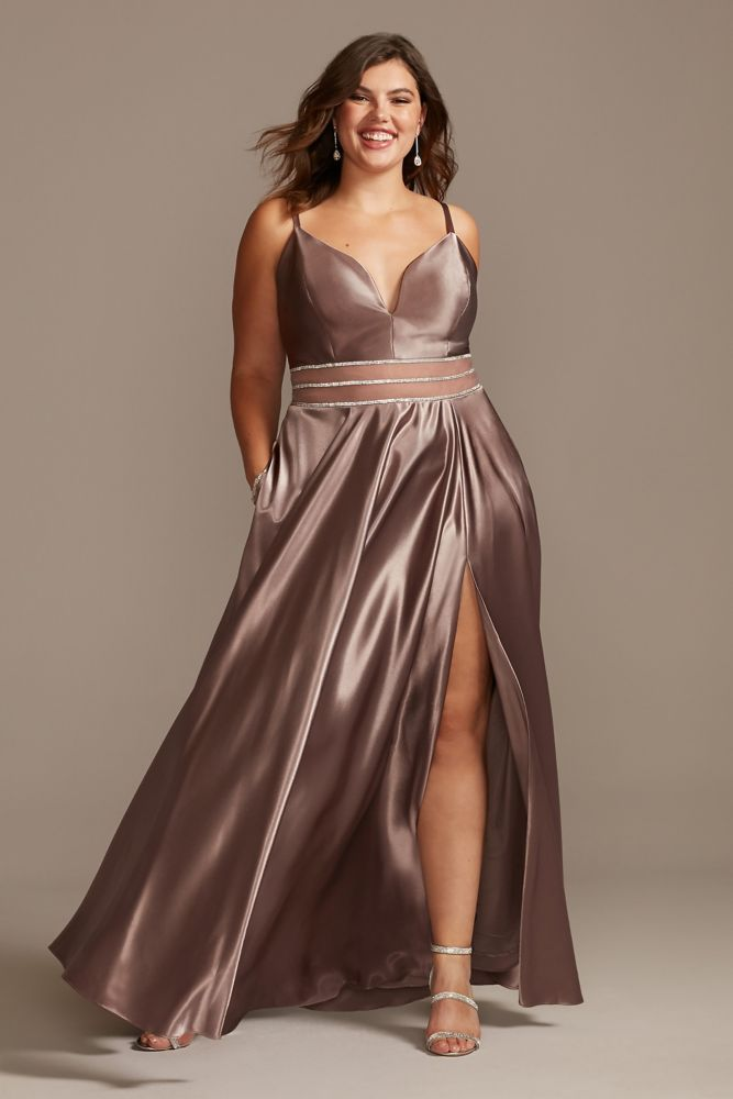 Satin Plunge Plus Size Gown with Illusion and Slit Style W43391Q96, Mauve, 7