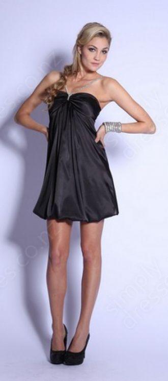 A-line Halter Taffeta Short/Mini Black Ruffles Prom Dress