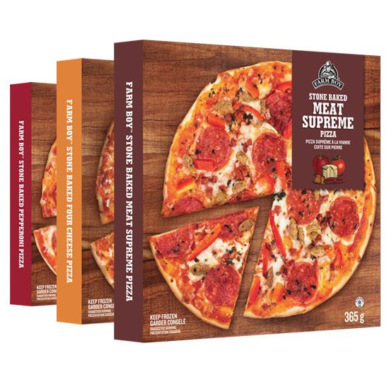 Farm Boy Stone Baked Frozen Pizza  Baked in a stone oven and made using hand-worked dough, dry-cured meats and fresh ingredients. Bake and serve for a quick authentic pizzeria meal. Choose from four varieties – Four Cheese, Meat Supreme, Pepperoni, and Vegetable.