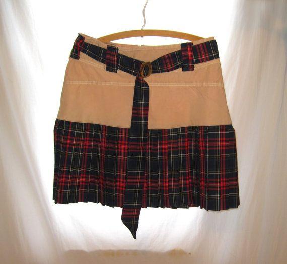 Handmade custom made plaid school girl skirt, size 4 school girl costume skirt, school girl plaid skirt, schoolgirl costume plaid mini skirt by 777DressCode, $54.99