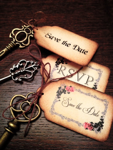 Custom Vintage Inspired Tags with Keys, save the date, RSVP (20)