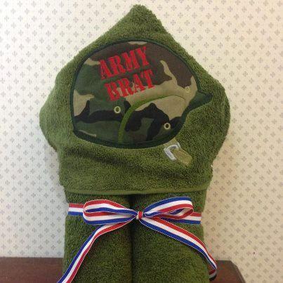 Military Helmet  Army Brat Hooded Bath by RainDanceDesignzShop, $30.00
