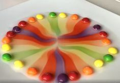 Cool science experiment for kids! Make a rainbow with just Skittles and water.