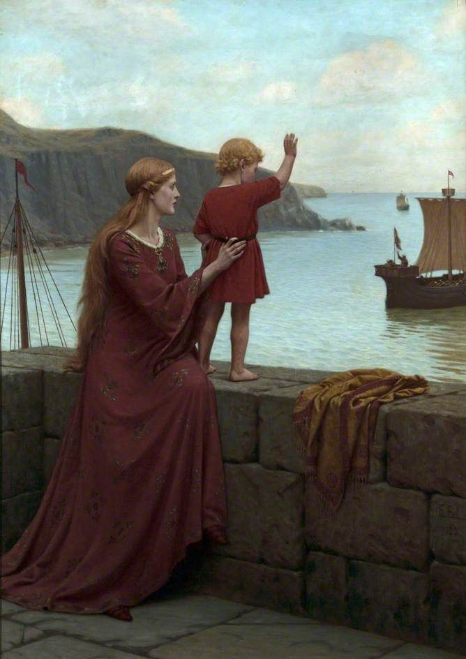 Farewel lEdmund Blair Leighton (British, 1852–1922) Oil on canvas, 133.3 x 97.7cm, 1922.Williamson Art Gallery & Museum.