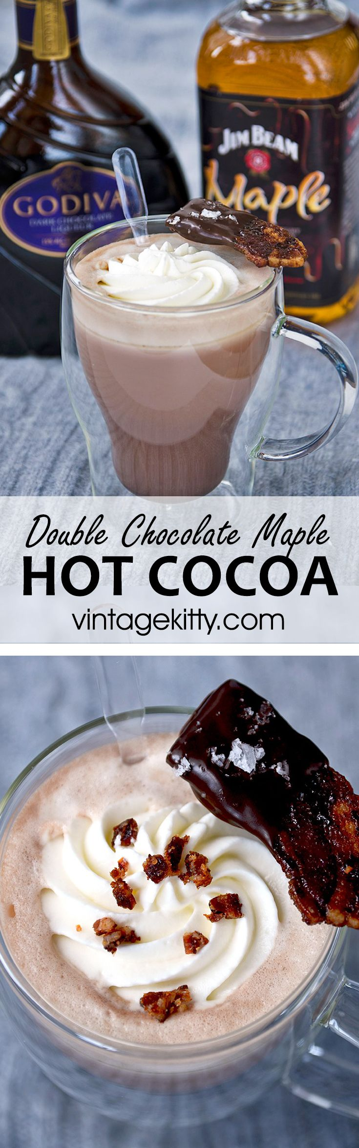 Double Chocolate Maple Hot Cocoa is just the cocktail to warm you up on chilly nights! A little Jim Beam Maple Whiskey, a shot of Godiva Chocolate liqueur and you have a sweet and smoky adult beverage that yearns to be served fireside with a piece of chocolate candied bacon!