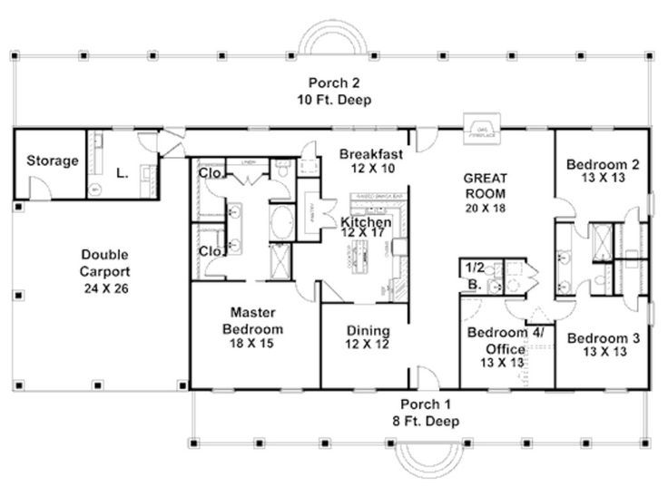 57 best house plans images on pinterest country homes for Simple house designs 4 bedrooms