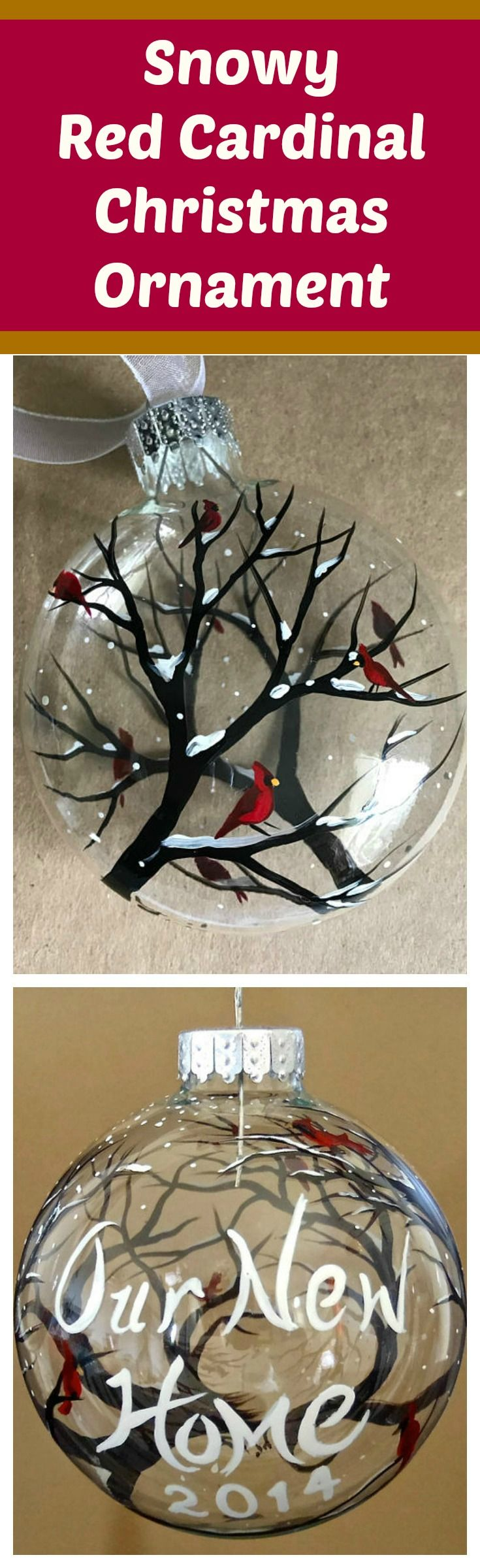 This little ornament was inspired by all the red cardinals that roam around my yard. I love watching them and they really are so stunning to look at, especially in Winter!  These ornaments make very special holiday gifts, housewarmings and even wedding presents! affiliate link