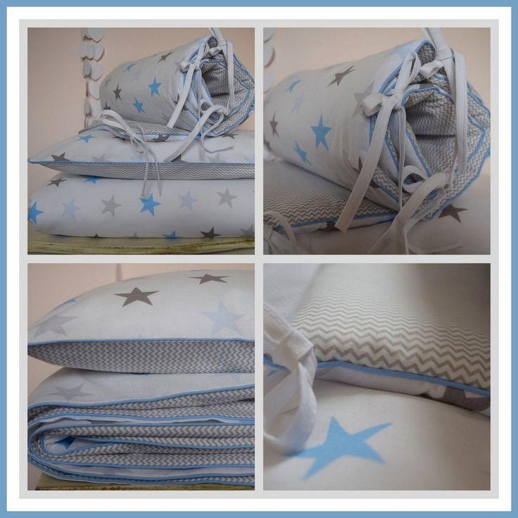 100%COTTON Cot Bed Duvet Cover Set & Bumper Stars  mini Chevron BABY Boy BEDDING