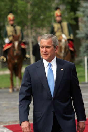 President George W. Bush - sat less than 50 yards away from him when he gave a speech in Charlotte, NC circa 2003.