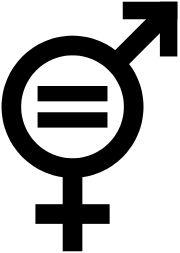 symbole de l'égalité des sexes. Le symbole de la femme et celui de l'homme sont fusionnés et le signe égal est inscrit dans le cercle commun
