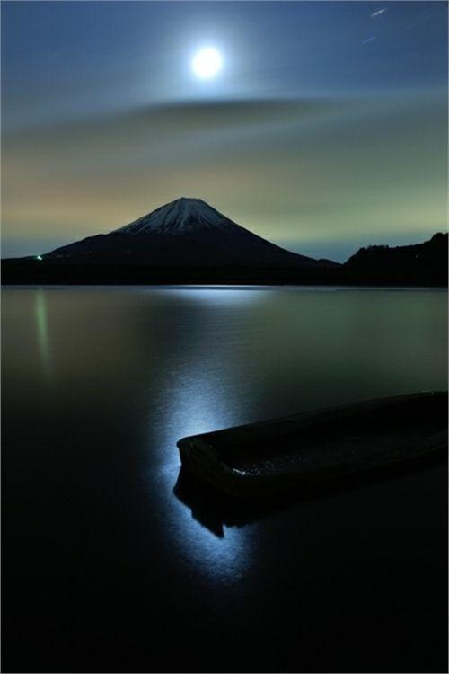 moonlight on Mt. Fiji, Japan