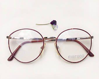 16bbbeee3bc6 80s Fiorucci Eyeglasses / NOS deadstock designer frames / Vintage rounded  lenses frames / Italian golden metal rim glasses eyewear in 2019   Glasses    Wire ...