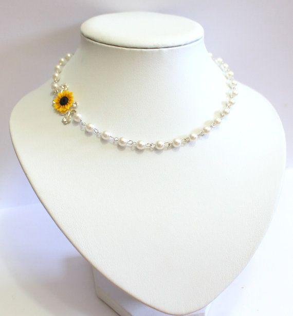 Collar de girasol girasol nupcial joyería de Dama de honor