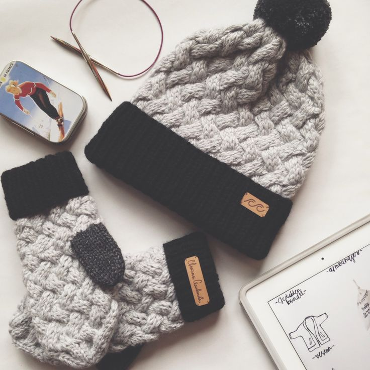 Knitted hat and mittens