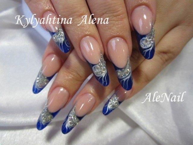 Uvgel AleNail Blau Hochzeitsnägel mit silberne motiven