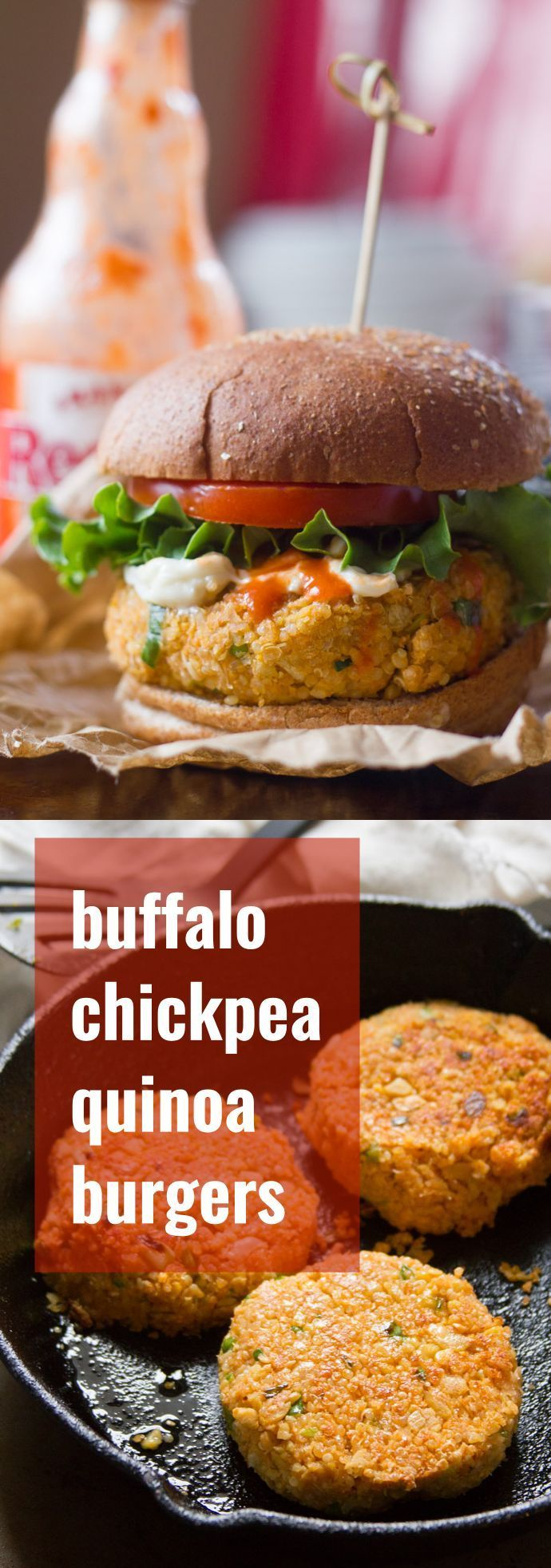 These spicy vegan Buffalo burgers are made with a hearty mix of chickpeas and quinoa that's spiked with kicky Buffalo sauce.