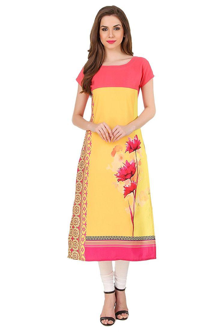 Kapadewala Women's Yellow and Pink Digital Printed Crepe Kurti