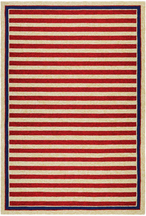 Couristan Rugs Covington Nautical Stripes Indoor/Outdoor Hand-Hooked Rug