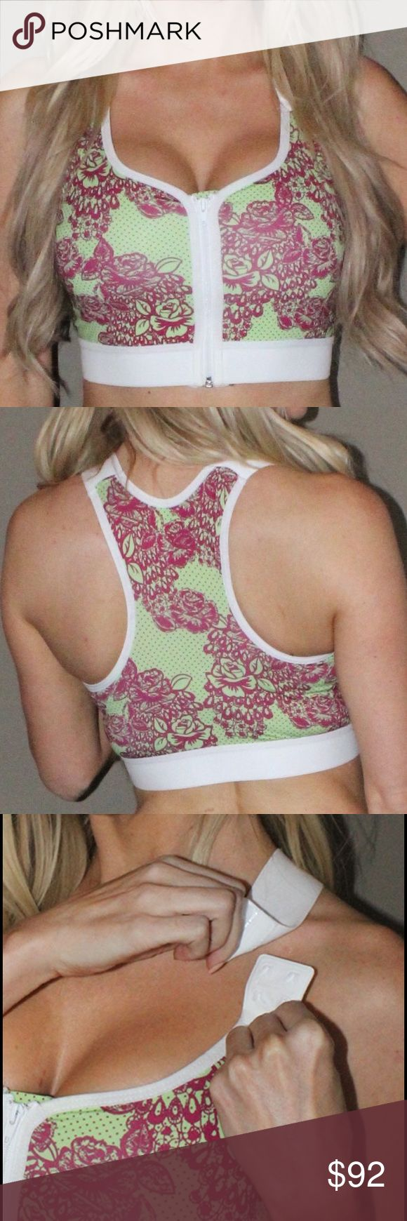 Sexy Lady Sports Bra Sexy Lady Snap Me Twice Bra - Green Floral Print.  The perfect sports bra to support you everyday. Recommended Wear 2-4 weeks after breast surgery & beyond. Also for Yoga, Pilates, & Lounging in style!  - Moderate Support - Low Profile Butterfly Double Snap Closures - Zipper Front Close (Heart Shaped Neckline) - Two levels of front strap adjust-ability - All over stretch fabric - Anti-bacterial & Moisture – Wicking Karlee Smith Intimates & Sleepwear Bras