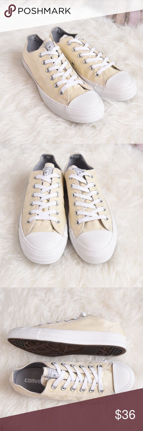 Ivory off white converse. Off white cream converse Nwot off white/cream converse with design in the fabric. Please review photos for details. No trades. Maybe have tiny dirt spots on the sole from the department store. Converse Shoes