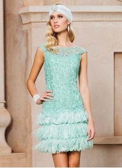 Sheath/Column Scoop Neck Short/Mini Lace Evening Dress With Beading Feather