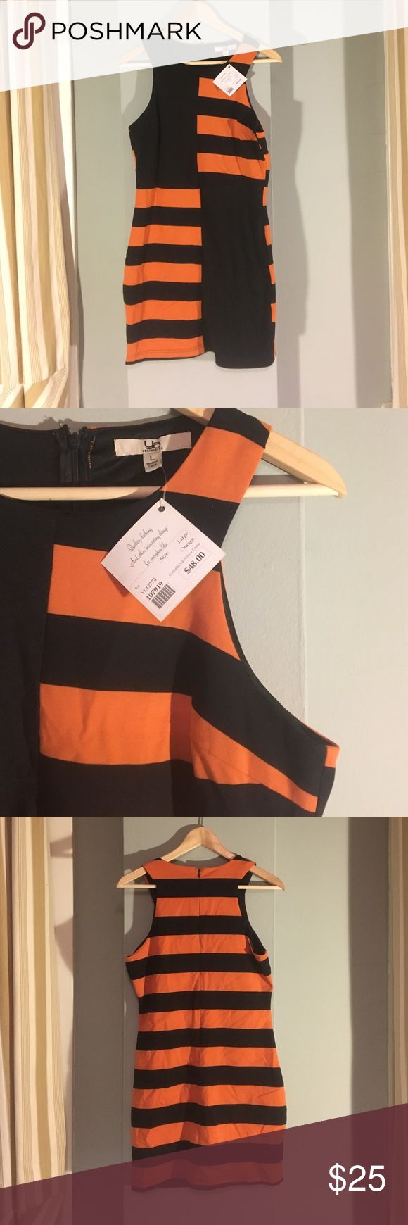 NWT Striped Body Contour Dress Never been worn in perfect condition. Orange and Black cotton striped dress Ya Los Angeles Dresses Midi