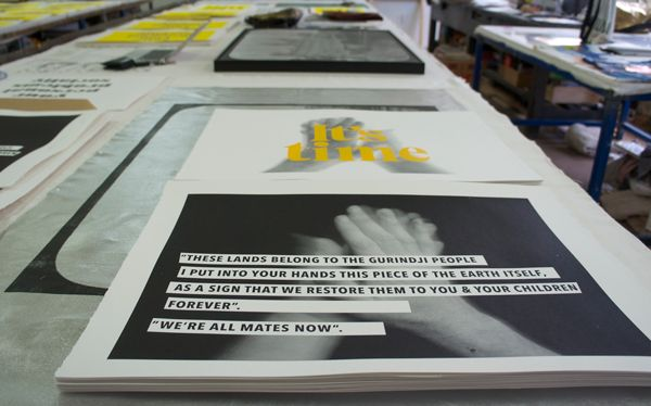 This edition of prints on paper for Bakehouse was originally shown as a public project, two large billboards on Hoddle Street marking the passing of Gough Whitlam. The public project and artists transformation of the Bakehouse spaces soon to be recorded as a publication from Black Inc Books.