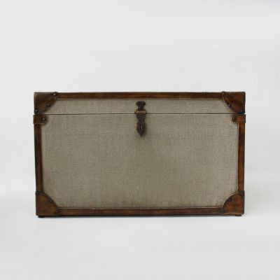 Redcurrent Canvas Trunk with Leather Trim $295.00.
