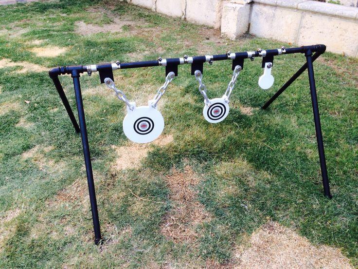 DIY steel target holder, welded swivel hinges. Steel