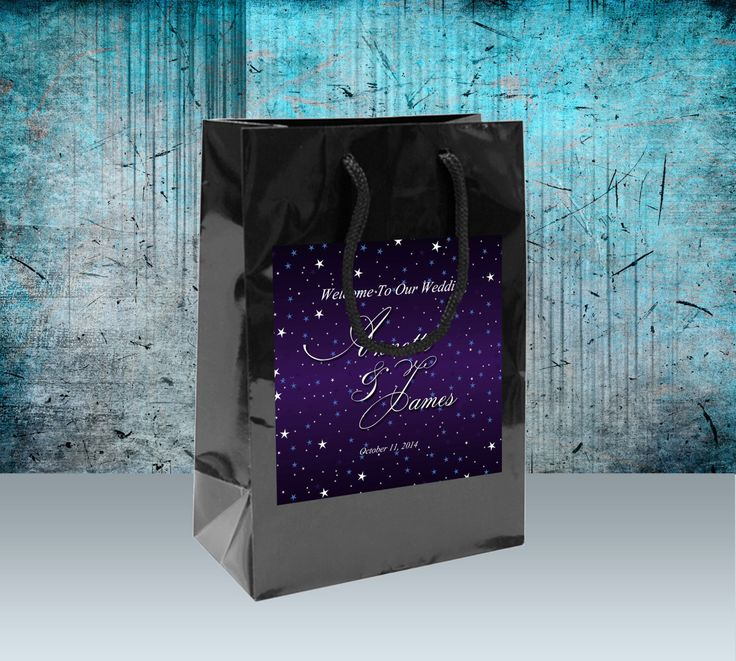 10 Welcome Bags, Starry Night labels on sturdy black gloss bags. hotel guest hospitality gift bags, wedding favors, bat mitzvahs goody bags by 4WeddingWelcomeBags on Etsy https://www.etsy.com/listing/185247451/10-welcome-bags-starry-night-labels-on