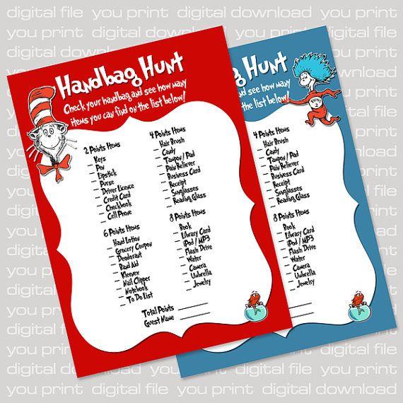 Dr Seuss Inspired Baby Shower Card: Handbag Hunt (Purse Game), Blue or Red - Printable PDF, DIY Print