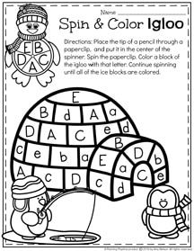 Preschool Alphabet Worksheets  for Winter.