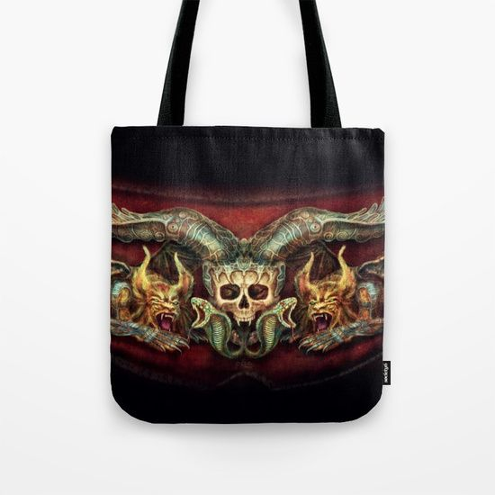 Skull And Beasts Tote Bag