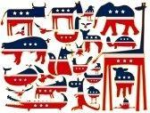 les animaux sur fond blanc, avec le drapeau américain stylisée, Résumé art illustration stock photography