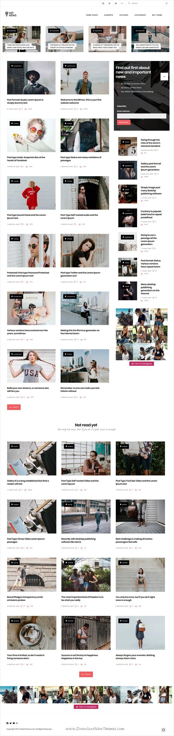 GetNews is clean and modern design responsive #WordPress theme for #blog, #news and #magazine professional website with 30+ unique homepage layouts download now..