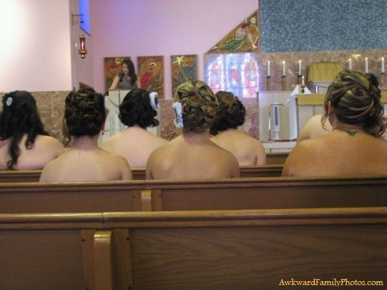 Funny brides maids wearing strapless dresses