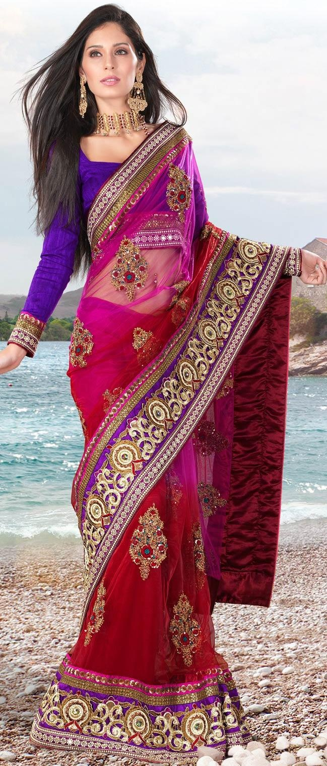 Magenta and #Red Net #Saree With Blouse @ $206.80 | Shop Now @ http://www.utsavfashion.com/store/sarees-large.aspx?icode=sxz709