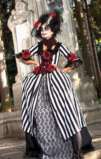 Red Rose Black and White Striped Day of the Dead Rococo Victorian costume