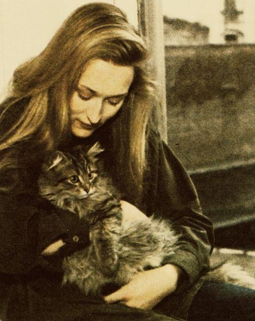 Meryl & a cat- a few of my favorite things! 1978.
