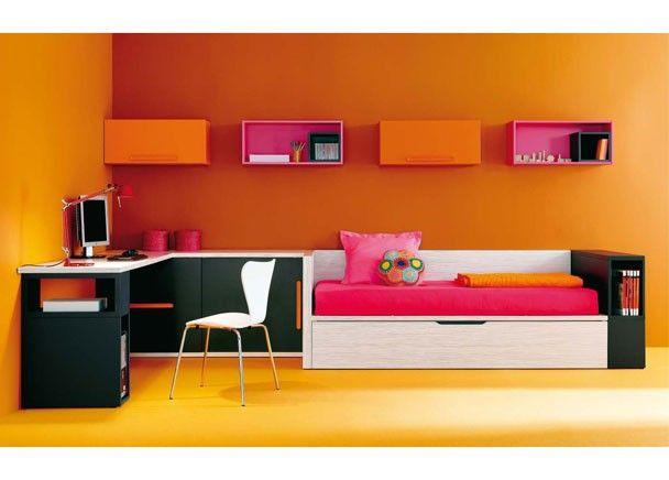 Dormitorio infantil con cama nido y mesa estudio - Mesas estudio juveniles ...