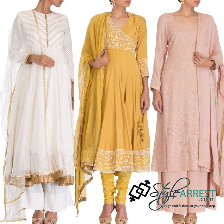 Shop the look by Kapila at http://goo.gl/Uq2o1h #Kapila #stylearrest #festive #indianwear #kurta #kurtawithpants #neutralcolurs #comeshopnow @ http://www.stylearrest.com/