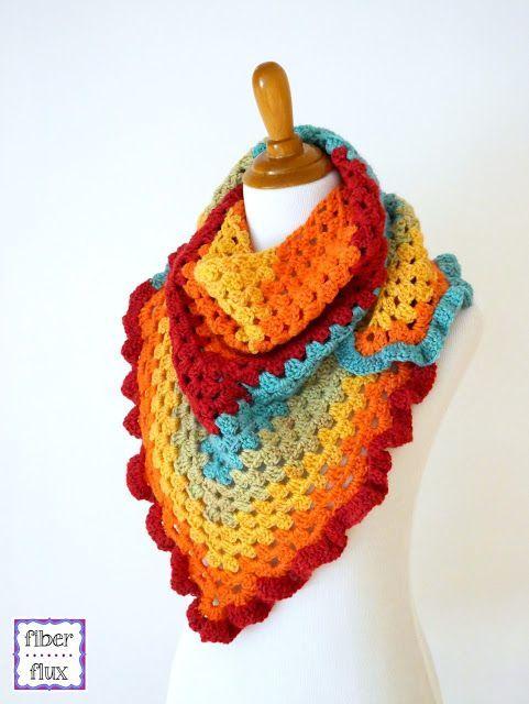 Happy Go Lucky Shawlette, free crochet pattern from Fiber Flux